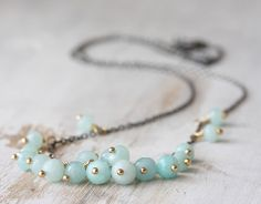 SALE - Amazonite cluster necklace - oxidized sterling silver & 14k gold fill