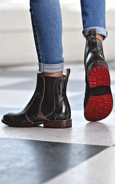Short Chelsea boot hand crafted by BEDSTU. Style with raw edge denim.
