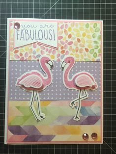 CTMH flamingo card using Kaleidoscope Paper Packet & Tickled Pink Stamps & Thin Cuts. carlie@ctmh.com