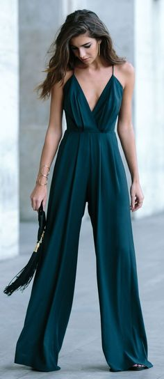 women's fashion | Elegant teal jumpsuit, flats, matching clutch