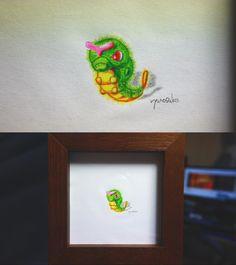pokemon art for bugs.Pokemon - Caterpie has been coloring in watercolor pencils. 虫さんのためのポケモン・キャタピーの水彩色鉛筆ぬり絵の様子です。 #pokemon #Caterpie #go #art #ポケモン #キャタピー #アート