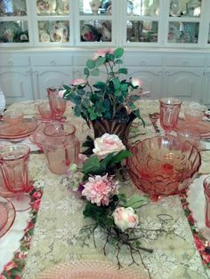 Love the Pink Depression Glass!