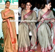 At the Amma Sports Foundation Awards 2016 event, Nayanthara was seen in a simple kota saree teamed with boat neck blouse. Saree Blouse Patterns, Saree Blouse Designs, Frock Patterns, Salwar Designs, Ethnic Sarees, Indian Sarees, Indian Attire, Indian Outfits, Indian Wear