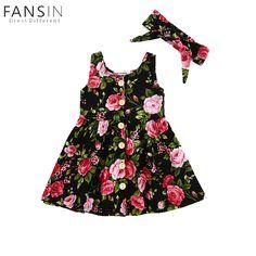 7d44b6862e36 Aliexpress.com   Buy Baby Girls Summer Dress Floral Print Sleeveless Pretty Princess  Dresses with Headband Kids Children Birthday Party Dress Vestido from ...