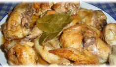 'Pollo al Ajillo' (kip met knoflook) Cuban Recipes, Spicy Recipes, Chicken Recipes, Drinks Alcohol Recipes, Tex Mex, Food And Drink, Meals, Cooking, Healthy