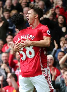 Josh Harrop of Manchester United celebrates after scoring a goal to make it 10 with Axel Tuanzebe of Manchester United during the Premier League. Harry Potter Jokes, Manchester United Football, Simply Red, Crystal Palace, Man United, My People, Football Team, Premier League, Devil
