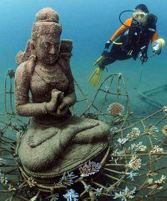 Underwater sacred space. Coral goddess in Bali.