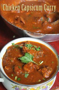 YUMMY TUMMY: Capsicum Chicken Curry Recipe - Chicken with Bell Pepper Masala Recipe