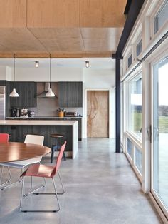 concrete floors (light gray), dark and white and wood elements, pendants, stainless, white counters