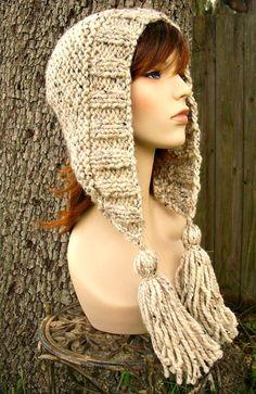 Items similar to Knit Hat Womens Hat Knit Hood - Tassel Hat Oatmeal Knit Hat - Oatmeal Hat Oatmeal Hood Oatmeal Ear Flap Hat Warm Winter Hat on Etsy Crochet Hood, Knit Or Crochet, Hand Knitting, Knitting Patterns, Hat Patterns, Flap Hat, Warm Winter Hats, Cowl Scarf, Bandeau