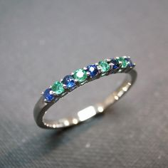 Blue Sapphire and Emerald my children's birthstones stones perfect to go w/ the family ring as a stackable!