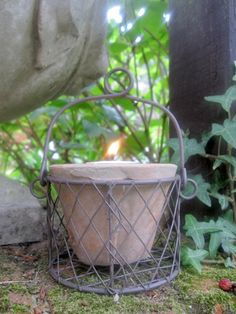 Basket Flowerpot with Candle