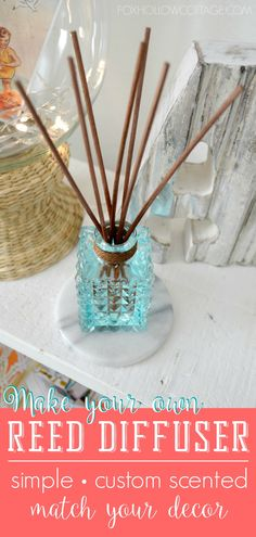 How To Make a Natural Reed Diffuser (and diy a custom scent too!) - Fox Hollow Cottage how to make your own reed diffuser - blend your own custom scent - have it match your decor perfectly - simple tutorial at foxhollowcottage (great as a gift too! Homemade Reed Diffuser, Diffuser Diy, Reed Diffuser Oil, Room Diffuser, Diffuser Recipes, Dyi, Essential Oil Diffuser Blends, Essential Oils, Perfume Diesel