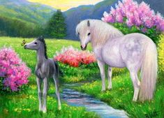 This little foal has discovered a butterfly as he and his mom enjoy a spring day in the meadow. Beautiful Horse Pictures, Beautiful Horses, Horse Artwork, Animal Paintings, Horse Paintings, Spring Painting, Cute Horses, Horse Photos, Equine Art