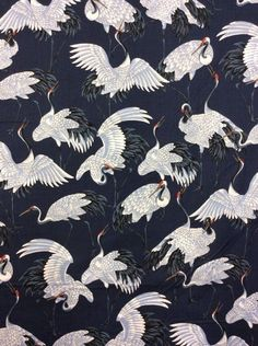 Cranes Elegant White Birds On Navy Wings Cotton Fabric Quilt Fabric KB09