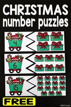 Christmas Number Puzzles Christmas Number Puzzles is the perfect addition to your math centers this holiday season. It is perfect for preschool and kindergarten students. Christmas Activities For Kids, Preschool Christmas, Christmas Ideas, Kindergarten Centers, Kindergarten Activities, Number Games For Kindergarten, Kindergarten Classroom, Preschool Lessons, Preschool Math