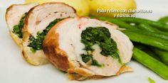Pollo relleno con champiñones  y espinacas