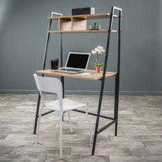 Features:  -Material: Pressed wood with veneer coating, iron legs.  -Color: Walnut with black legs.  Desk Type: -Leaning/Ladder desk.  Top Finish: -Walnut.  Top Material: -Manufactured Wood.  Base Mat