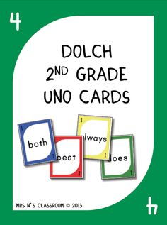 Sight Words Uno Game Cards - Grade 2 --- Add to your collection of sight word activities with this UNO sight word game! I made this collection of games after seeing another kindergarten teacher stick sight words on uno cards to teach her kids their sight words. Some kids were allowed to take home the cards to practice at home too! This game is played exactly the same way as the original Uno game but instead of numbers it contains sight words on them. The students have to say the sight word…