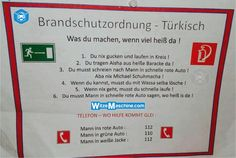 Brandschutzordnung für Türken - Türkenwitze