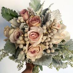 seeded euc, dusty miller, quicksand roses, brunia Add some silver dollar euc and leu Burgundy And Blush Wedding, Burgundy Bouquet, Cascade Bouquet, Ranunculus Wedding Bouquet, Bride Bouquets, Rose Bouquet, Winter Wedding Flowers, Floral Wedding, Dusty Miller Bouquet