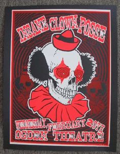 Original silkscreen concert poster for Insane Clown Posse at The Ogden Theatre in Denver, CO in 2001. 20 x 26 inches. Signed and numbered out of 178 by the artist Lindsey Kuhn.