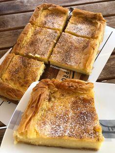 """Η Συνταγή είναι από κ. Eleni Kappou – """"ΟΙ ΧΡΥΣΟΧΕΡΕΣ / ΗΔΕΣ"""". Υλικά 3 φύλλα κρούστας 1 λίτρο γάλα 1 φλιτζάνι τσαγιού σιμιγδάλι ψιλό 1 κ.σ corn flaour 1 βανιλετα 2 αυγά 2 κ.σ γεμάτες βούτυρο 1,5 φλιτζάνι τσαγιού ζάχαρη Ξύσμα πορτοκαλιού ΕΚΤΕΛΕΣΗ Βουτυρώνουμε το The Kitchen Food Network, Food Network Recipes, Banana Bread, French Toast, Appetizers, Sweets, Cooking, Breakfast, Desserts"""