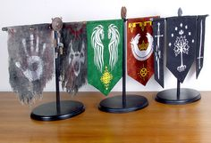 Lord of the Rings Banner Displays - Set of three (3). Mixed-media decorations for any fan of LOTR. www.etsy.com/shop/Jivotica
