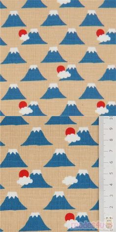 "tan dobby fabric with small blue mountains, clouds, red suns, Material: 100% cotton, Fabric Type: strong dobby fabric, Pattern Repeat: ca. 7.5cm (3"") #Dobby #Mountains #JapaneseFabrics Dobby Fabric, Echino, Red Sun, Modes4u, Japanese Fabric, Blue Mountain, Repeating Patterns, Cosmos, Cotton Fabric"