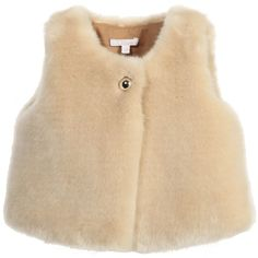 Chloé Baby Girls Beige Synthetic Fur Gilet (£85) ❤ liked on Polyvore