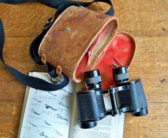 1950's Saiko Aurora Binoculars with Original Distressed Leather Case.