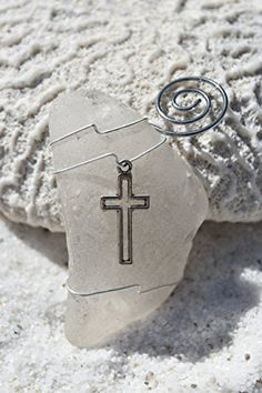 Genuine Surf Tumbled Frosted Sea Glass Ornament with a Silver Christian Cross Charm