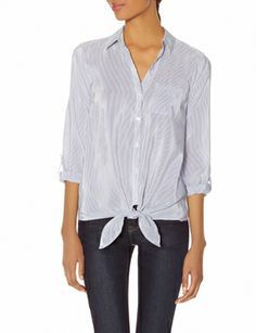 Striped Tie-Front Shirt from THELIMITED.com #TheLimited