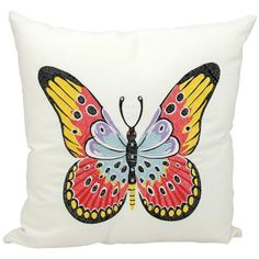 Kathy Ireland Red & Yellow Butterfly Indoor / Outdoor Throw Pillow (380 DKK) ❤ liked on Polyvore featuring home, home decor, throw pillows, white, red throw pillows, patterned throw pillows, outdoor toss pillows, yellow outdoor pillows and white accent pillows