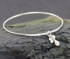 Silver Bangle Bracelet Freshwater Pearl and hand by RoxysJewelry, $39.00