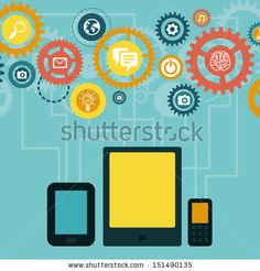 Vector concept - mobile app development infographics in flat style with social media and technology icons by venimo, via Shutterstock