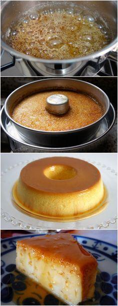 FAÇA ESSE PUDIM E TODA SUA FAMÍLIA VAI TE ELOGIAR MUITO BOM!! VEJA AQUI>>>Para a calda, numa panela, dissolva o açúcar na água. Leve ao fogo baixo por mais ou menos 20 minutos, sem mexer, ou até obter um caramelo dourado. Espalhe em uma forma de burado no meio de mais ou menos 22 cm e reserve. #receita#bolo#torta#doce#sobremesa#aniversario#pudim#mousse#pave#Cheesecake#chocolate#confeitaria
