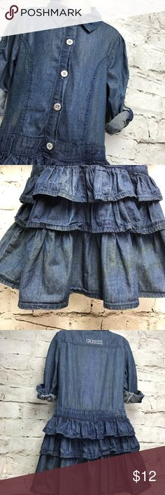 Little Girls SZ 6X  GUESS Jean Dress with Ruffles GUESS BRAND little girls size 6X jean dress with ruffle skirt. Ultra cute and not much wear before my little one out grew it. Thank you for looking and I invite you to check out the rest of my closet as well as my boutique! Save 15% by bundling two or more items! Guess Dresses Casual