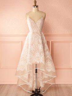 Ivory Lace Prom Dress, High Low Prom Dress, Fashion V Neck Prom Dress With Straps #promdress #promdresses #prom #dresses #fashion