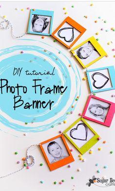 mini photo frame banner - DIY tutorial for a cute gift or kid's room decor