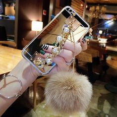 Ultra Thin Clear Plating Mirror Case For iPhone 7 6 Plus Funda Fashion Pearl Chain Tassel Fur Ball Phone Cases Soft TPU Cover Apple Iphone 6, Iphone 8, Iphone Cases, Girly Phone Cases, Cheap Phone Cases, Phone Covers, Luxury Girl, Shell, Pearl Chain