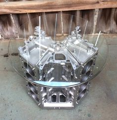 Engine parts v8 coffee tables and furniture engine free for Engine parts furniture