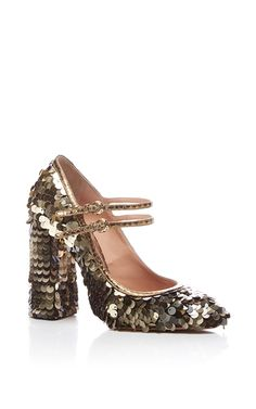 This **Rochas** shoe features a mary jane style with double buckle straps, a rounded toe, a block heel, and allover paillette embellishment.