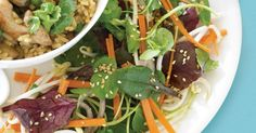Drizzle fresh Asian dressing over watercress and bean sprouts for a sensational side.