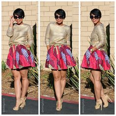 African Print Floral Short Skirt with Golden top and nude shoes!
