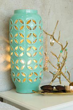 Mint Cutwork Ceramic Lamp. The mint finish & geometric cutwork pattern both add modern yet feminine touches to this piece.