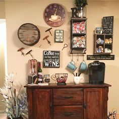 Love this rustic coffee bar AND wine bar in one!  Great set up for a kitchen beverage station!