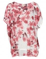 Qed London Floral Print Oversized Top in Pink