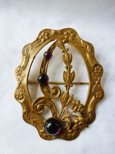 Antique Vintage Victorian Sash Pin Amethyst Glass