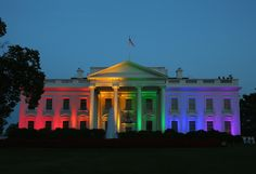 Rainbow colored lights shine on the White House to celebrate todays US Supreme Court ruling in favor of same-sex marriage June 26, 2015 in Washington, DC. Today the high court ruled 5-4 that the Constitution guarantees a right to same-sex marriage in all 50 states. (Photo by Mark Wilson/Getty Images)  via @AOL_Lifestyle Read more: https://www.aol.com/article/news/2017/04/04/us-civil-rights-law-protects-lgbt-workers-from-workplace-bias/22026101/?a_dgi=aolshare_pinterest#fullscreen